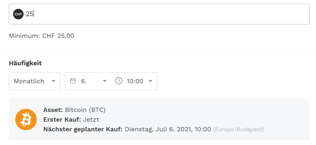 Bitcoin Sparplan Schweiz bei Bitpanda
